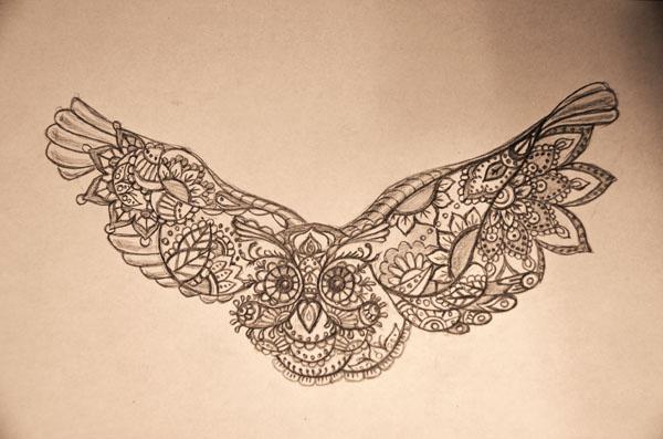 Черно белый рисунок сова