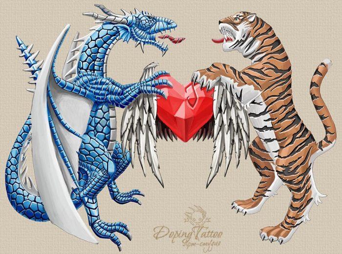 Дракон, тигр и сердце. Эскиз.
